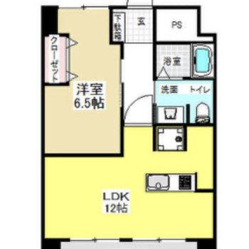 間取りは1LDKのお部屋です。