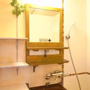 鏡と収納棚つきです。