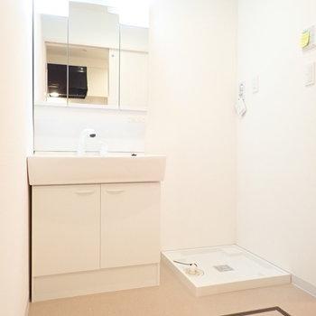 洗面台と洗濯機はおとなりに。※写真は1階別部屋、反転間取りのものです。