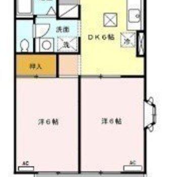 約6帖の洋室が2部屋と、ダイニングキッチンの間取りです。