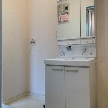 洗面台は新しいタイプに交換されていました。