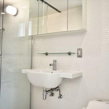 コンパクトな独立洗面台。配管むき出しで無機質な印象。※写真は6階の同間取り別室のものです。