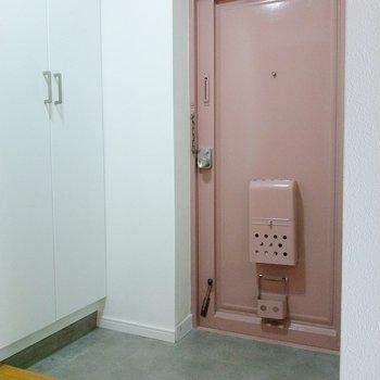 淡いピンクの玄関扉がかわいい。スペースもしっかり。