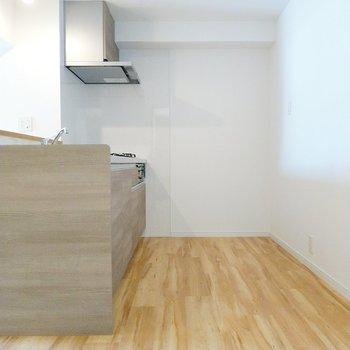 冷蔵庫やキッチン家電を置いても余裕がありますよ。