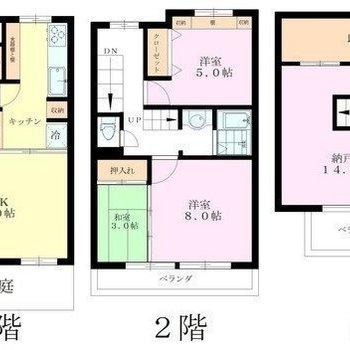 3階建ての広々テラスハウスです。