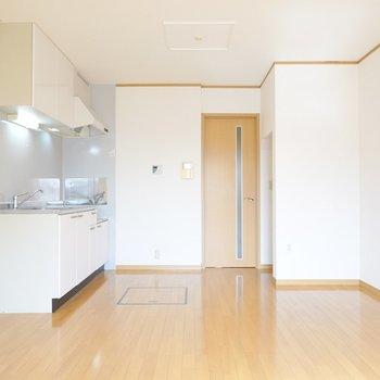 玄関側にはキッチンと収納。