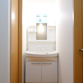 右には棚付きの洗面台。