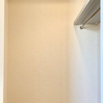【洋室北側6帖】照明付きでゆったりお洋服を選べます。