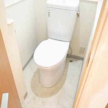 その右となりのドアはトイレ。ドアを開けると、後づけの洗面台に当たって途中で止まってしまいます。