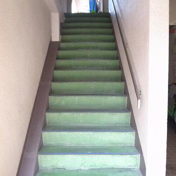 【共用部】やや幅が狭い階段です。