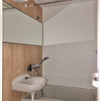 ワイドな鏡が特徴の2点ユニット。※写真は通電前・フラッシュを使用しています