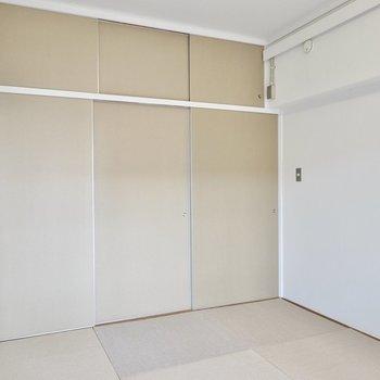 窓の対面側の壁は一面が段ボール襖。左端を開けると…