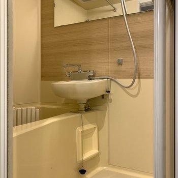 横長な鏡で洗顔もしやすく。