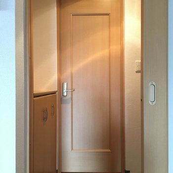 玄関を挟んで※写真は4階反転間取り・別部屋のものです