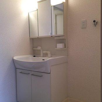洗面台も大きめで嬉しい!※写真は4階反転間取り・別部屋のものです