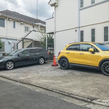 駐車場は入口の右側にあります。