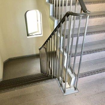階段も綺麗でした。幅があるので安心ですね。