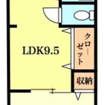 間取りはシンプルな1LDK。