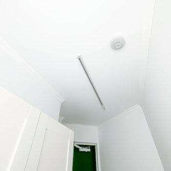 玄関の照明はライティングレール。お好みで照らし方を変えられますよ。