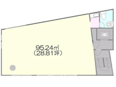 新宿 28.8坪 オフィス の間取り