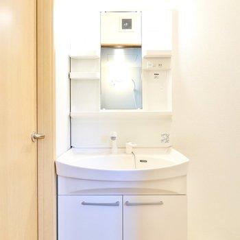 棚付きの洗面台。便利なシャンプードレッサー仕様です。