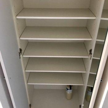 お気に入りの靴をしっかりと収納できそう※写真は11階の反転間取り別部屋のものです