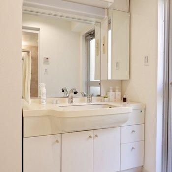 ワイドな洗面台は既存利用です。鏡が大きく、収納も沢山で使い勝手が良さそうです。※写真は反転間取り、別部屋のもの