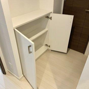 ちょっとした収納スペースがありますね。上部に鍵などの小物を置いておくと便利かもしれません。