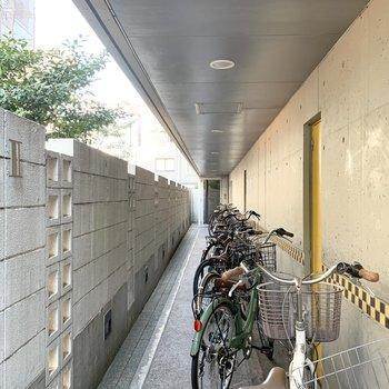 オートロック付のエントランスと、アプローチは自転車置場も兼ねているよう。