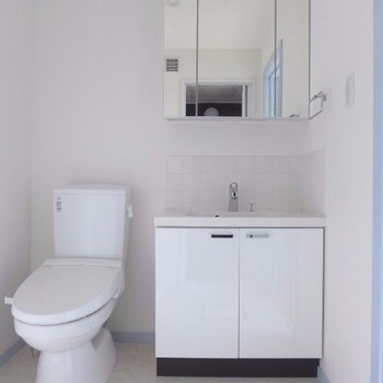 トイレと洗面台は同じ空間(※写真は2階の反転間取り別部屋のものです)
