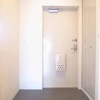 玄関はゆとりがあります。右のとびらを開くと、