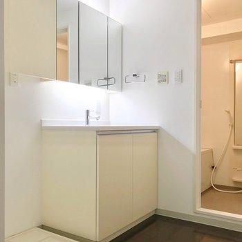洗面台も大きい!鏡も広いので朝の支度もラクラクです。(※写真は3階同間取り別部屋のものです)