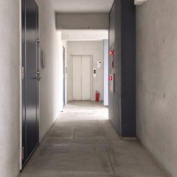 共用廊下はコンクリート打ちっ放し。クールな雰囲気でした。