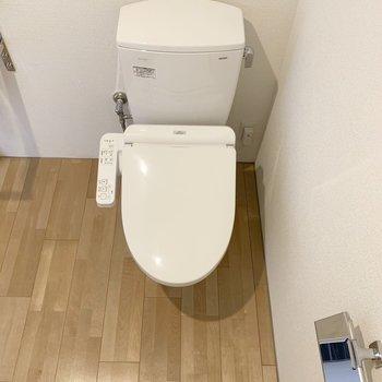 お隣にウォシュレット付トイレ。(※写真は4階の同間取り別部屋のものです)