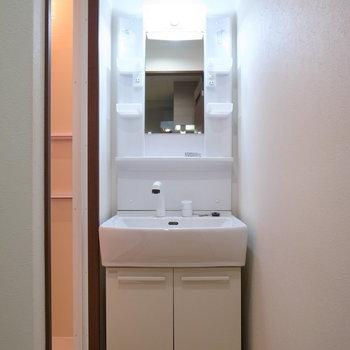 浴室のすぐとなりに洗面台があります。