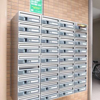 【共用部】ポストはパスワードを入力して開けるタイプ。