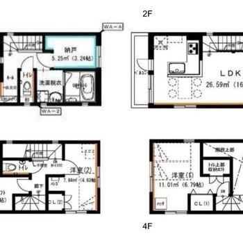 4階建ての戸建てのお部屋です。