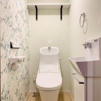 1階同様、可愛らしい空間のお手洗い。