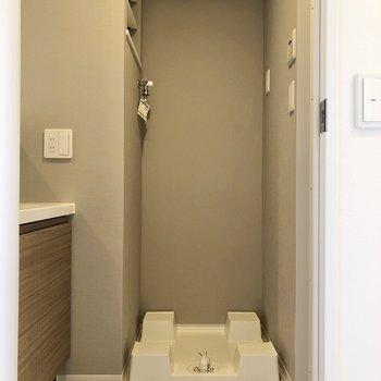 サニタリールームへのドアを開けると、正面に洗濯機置き場があります。
