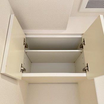 上には収納が。隠れるからごちゃつかずに済みますね!