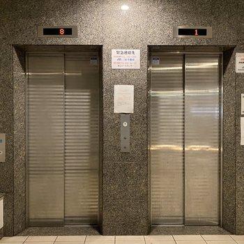 15階だからエレベーターに乗ってビューンと。