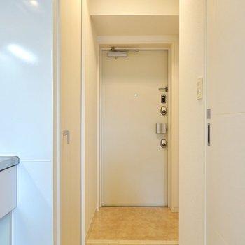 玄関も意外と広く、左右に収納の扉があります。