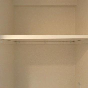 洗剤を置ける棚。こういうのが地味に嬉しい。※写真は4階の反転間取り別部屋のものです