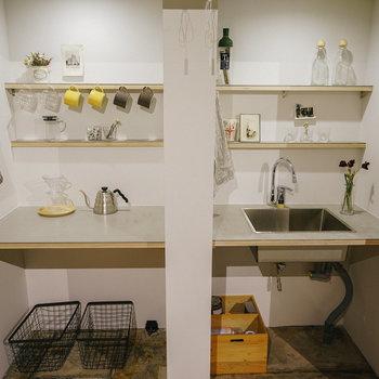 コーヒーを入れるスペース、洗うスペースで使い分け。