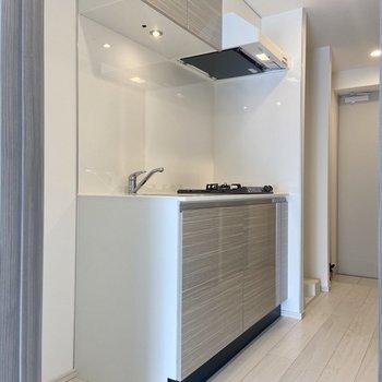 冷蔵庫はシンクの横に置けますよ。※写真は3階の反転間取り別部屋のものです