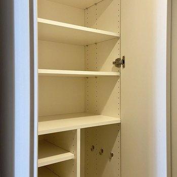 可動棚が9段ほど、1段に3~4足ほどはいりそうでした。傘なども収納できますよ。※写真は3階の反転間取り別部屋のものです