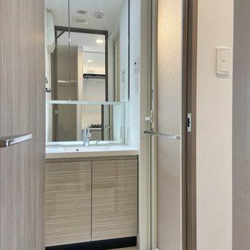 サニタリーには鏡の大きな独立洗面台。鏡の裏は収納になっていますよ。※写真は3階の反転間取り別部屋のものです