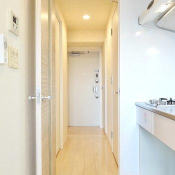 ドアの向こうには玄関とその他の水回りが。