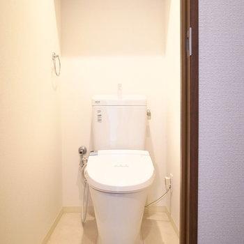 トイレは離れて、玄関のほうに。頭上にトイレットペーパーを置ける棚があります。