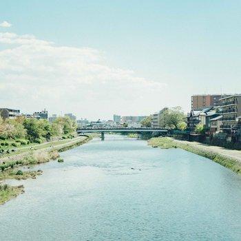 お部屋から2分ほどの場所には鴨川があります。